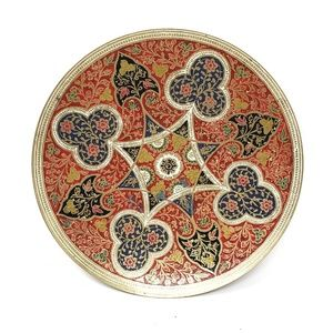 Vintage Hand Painted Made in India Brass Plate